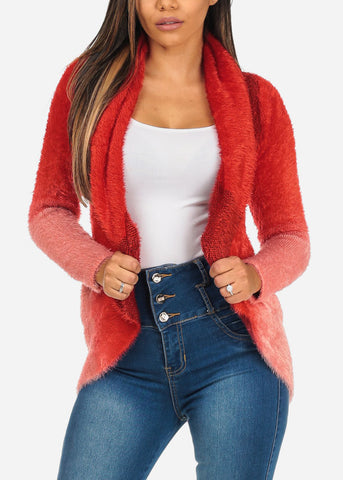 Image of Red TwoTone Fuzzy Cardigan