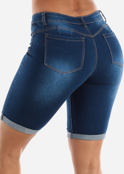 Butt Lifting Dark Wash Denim Bermuda Shorts