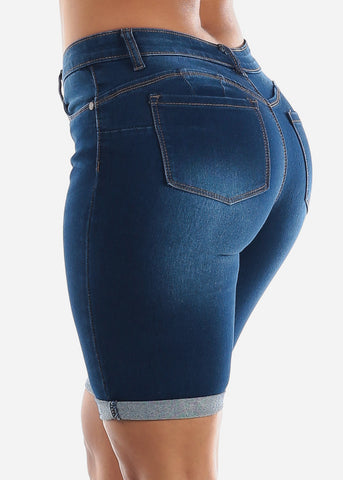Image of Butt Lifting Dark Wash Denim Bermuda Shorts