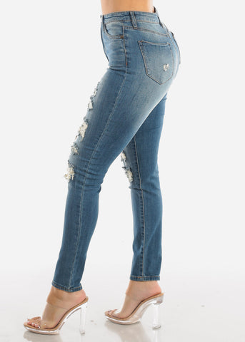 Torn High Waisted Skinny Jeans