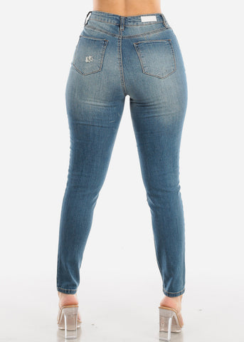 Image of Torn High Waisted Skinny Jeans