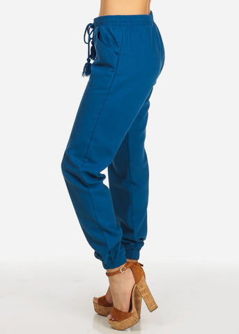 High Rise Navy Skinny Linen Pants