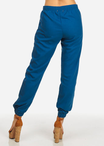 Image of High Rise Navy Skinny Linen Pants