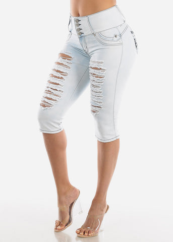 Image of Light Acid Wash Butt Lifting Ripped Capris