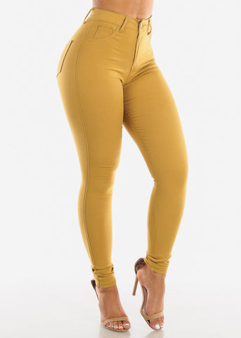 Image of High Waisted Mustard Jegging Skinny Pants