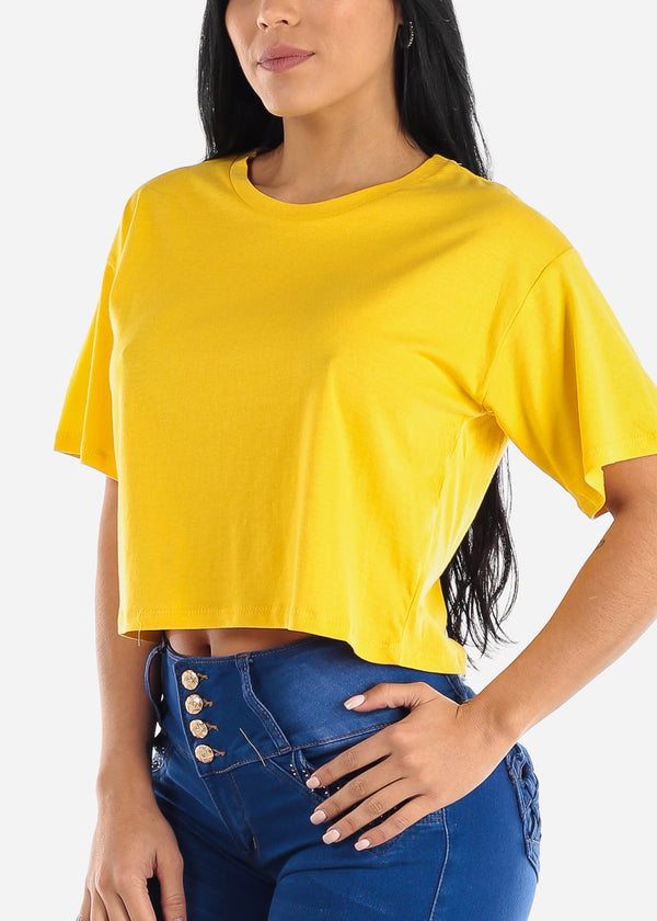 Short Sleeve Yellow Flowy Tee