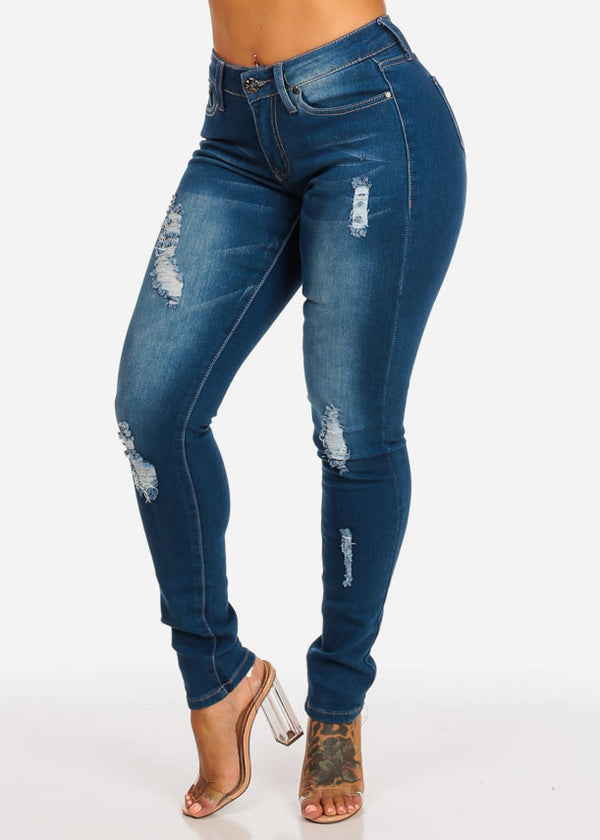 Med Wash Mid Rise Ripped Skinny Jeans