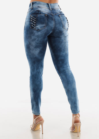 Image of High Waist Butt Lifting Marble Jeans