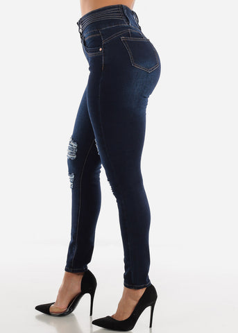 Image of Levanta Cola Torn Dark Wash Skinny Jeans