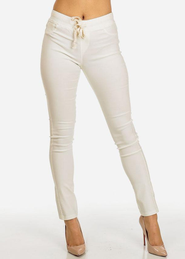 White Drawstring Stretchy Pants