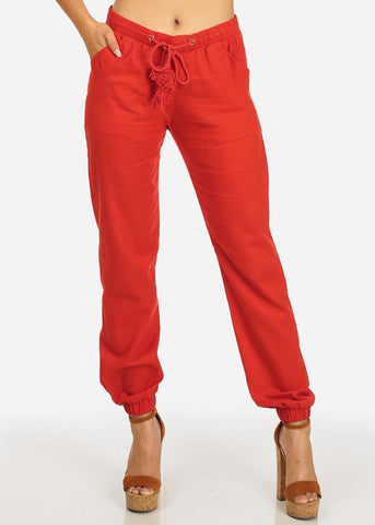 High Rise Red Skinny Linen Pants