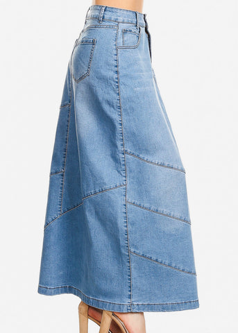 Light Wash A-Line Denim Maxi Skirt