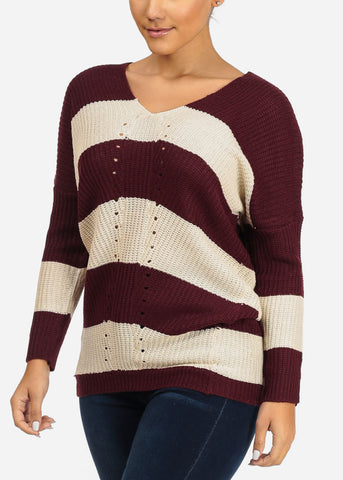 Image of Burgundy Stripe Knitted Sweater