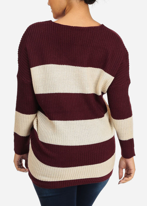 Burgundy Stripe Knitted Sweater