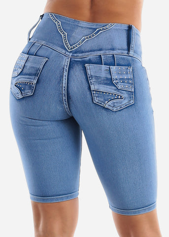 Butt Lifting Light Denim Bermuda Shorts
