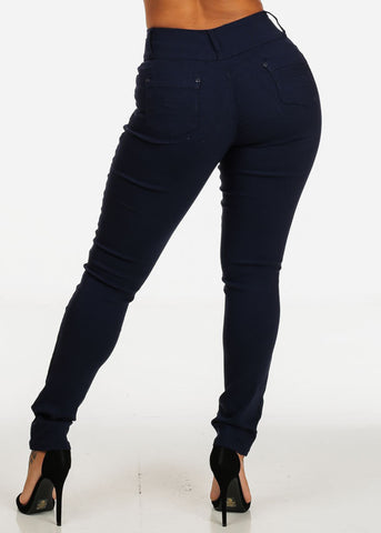 Image of High Waisted Navy Blue Skinny Jeans