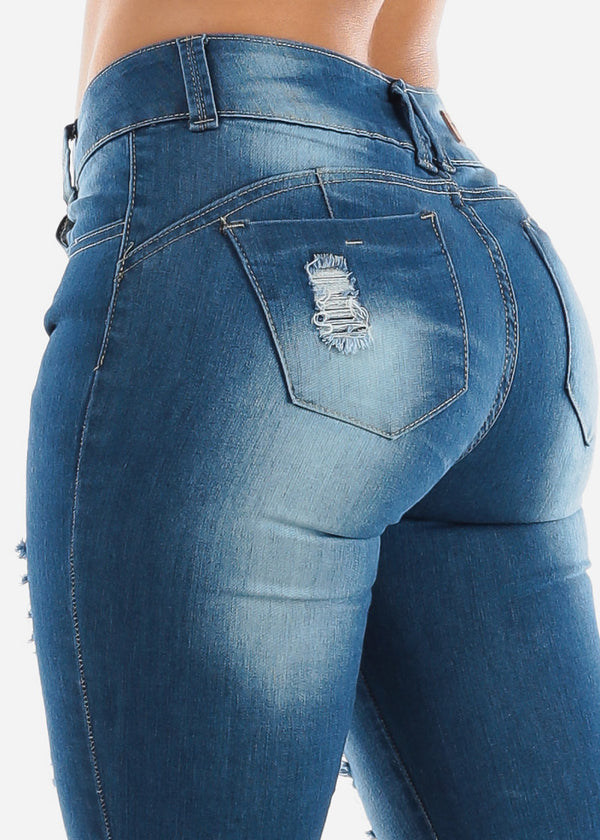 Mid Rise Ripped Butt Lifting Skinny Jeans