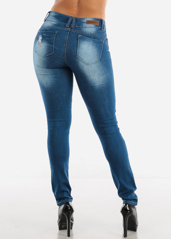 Image of Mid Rise Ripped Butt Lifting Skinny Jeans