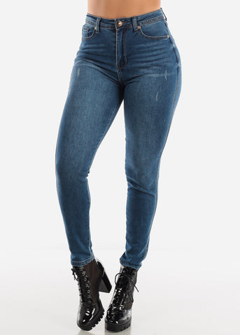 High Waisted Dark Blue Skinny Jeans