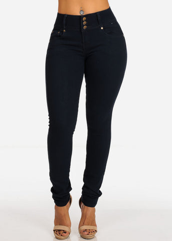 Image of Mid Rise Dark Wash Levanta Cola 3 Button Skinny Jeans