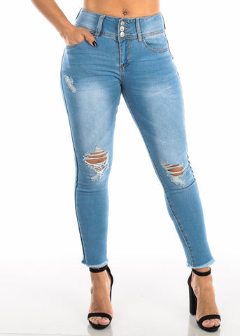 Image of Ripped Light Wash Skinny Ankle Jeans