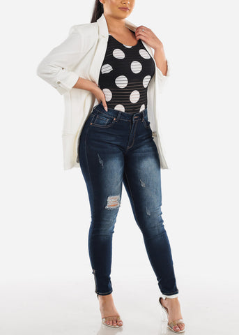 Image of Classic Open Front Ivory Blazer