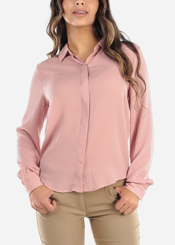 Image of Pink Button Down Blouse
