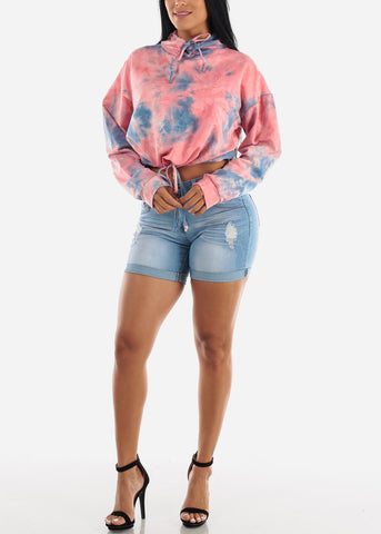 Image of Light Wash Distressed Denim Shorts