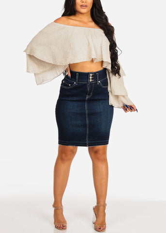 Image of Women's Junior Ladies Sexy Must Have Going Out Casual Dark Wash 2 Button Denim Skirt