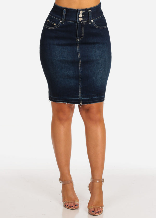 Women's Junior Ladies Sexy Must Have Going Out Casual Dark Wash 2 Button Denim Skirt