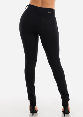 Image of Butt Lifting Solid Black Skinny Jeans
