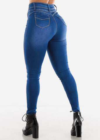 Image of Blue Wash Super High Waist Jeans