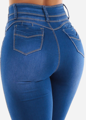 Blue Wash Super High Waist Jeans