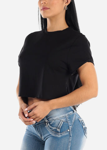 Image of Short Sleeve Black Flowy Top