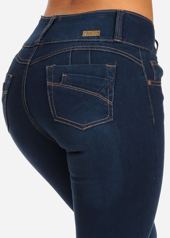 Butt Lifting Med Wash Mid Rise 3 Button Skinny Jeans