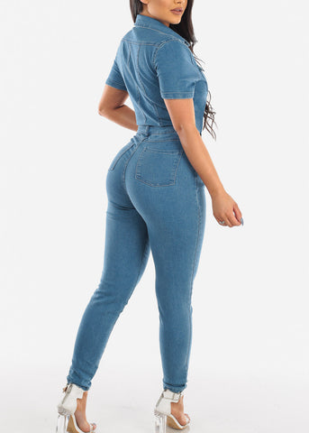 Image of Sexy Short Sleeve 2019 Summer Club Elegant Denim Long Light Wash Jean Jumpsuit Jumper Slim Fit For Women Junior Ladies Modaxpress