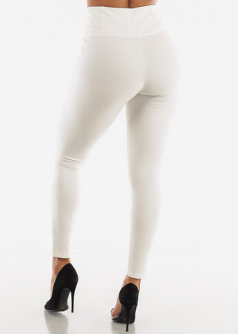 Image of White Strechy Dress Pants
