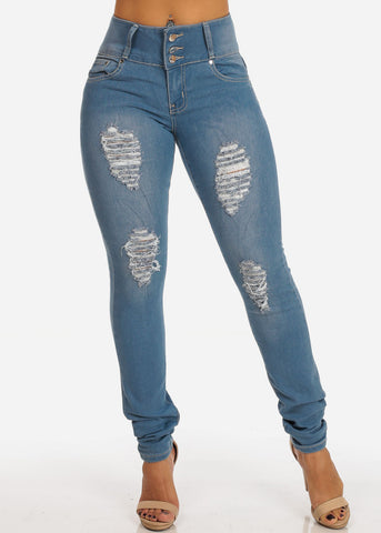 Distressed Levanta Cola Mid Rise Light Wash Skinny Jeans