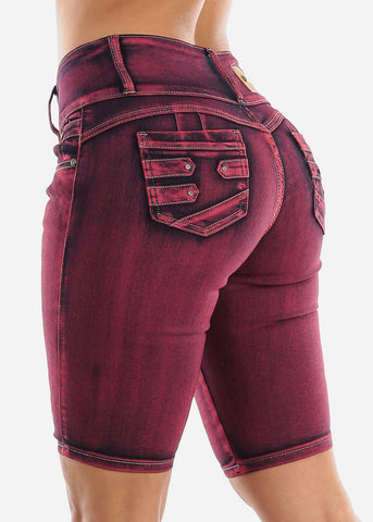 Image of Butt Lifting Red Denim Bermuda Shorts