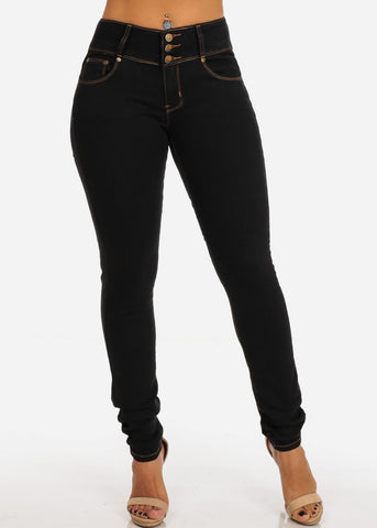 Image of Levanta Cola Mid Rise 3 Button Black Skinny Jeans