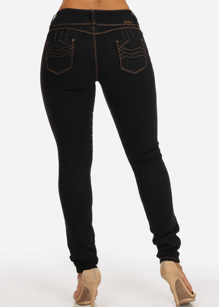 Levanta Cola Mid Rise 3 Button Black Skinny Jeans