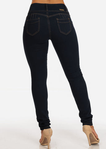 Levanta Cola Butt Lifting 3 Button Dark Wash Skinny Jeans