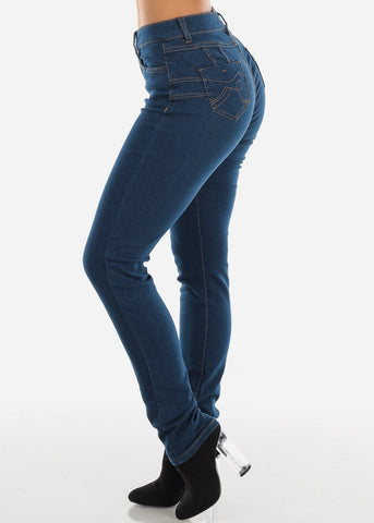High Rise Levanta Cola Straight Leg Dark Wash Skinny Jeans