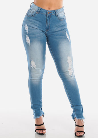 Sexy 1 Button Distressed Ripped Raw Hem Light Wash Skinny Jeans For Women Ladies Junior
