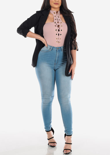 MX Classic Light Wash Ultra High Waisted Skinny Jeans