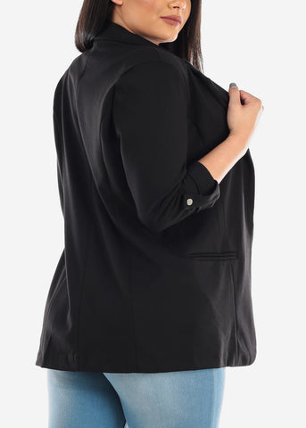 Image of Classic Open Front Business Career Professional Wear Solid Black Blazer For Women Ladies Junior