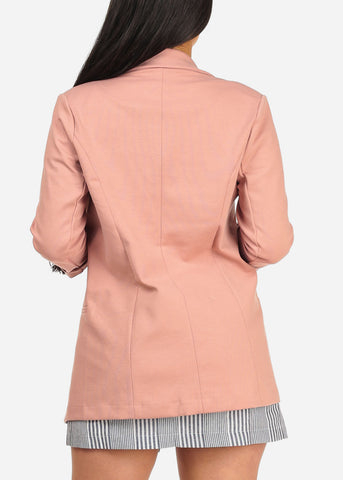 Image of Women's Junior Classic Office Business Wear Open Front Stretchy Rose 3/4 Sleeve Trendy Blazer