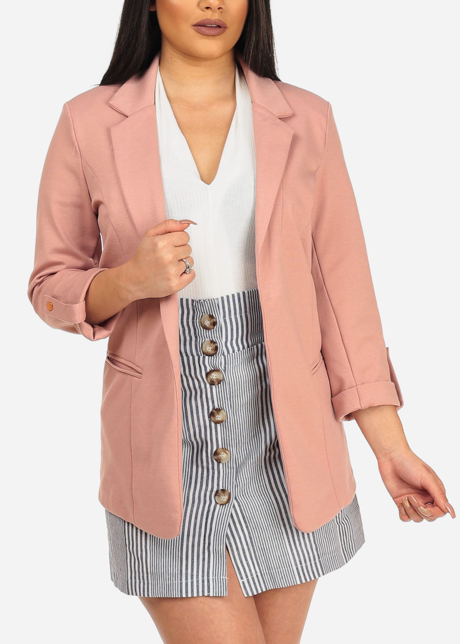 Women's Junior Classic Office Business Wear Open Front Stretchy Rose 3/4 Sleeve Trendy Blazer
