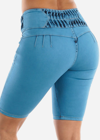 Image of Mid Rise Butt Lifting Denim Bermuda Shorts