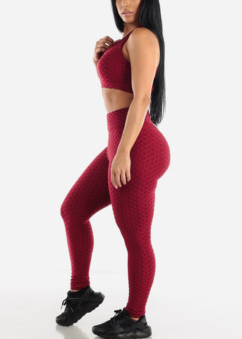 Image of Anti Cellulite Burgundy Sports Bra & Leggings  (2 PCE SET)